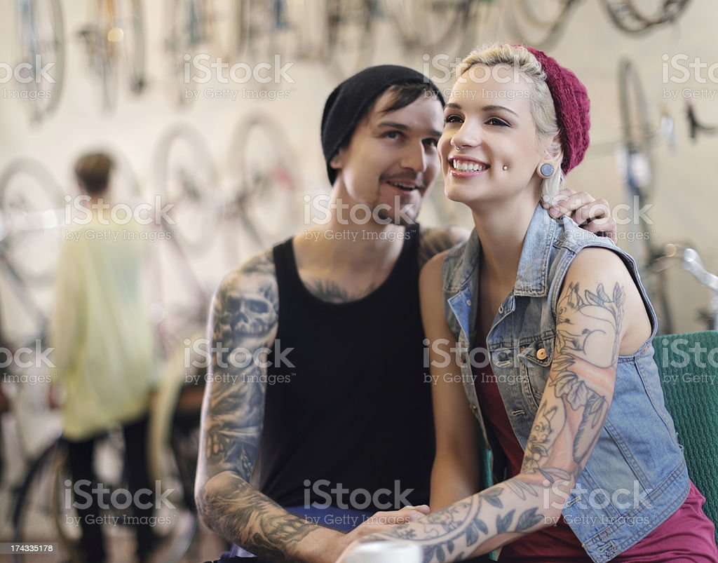 Owners of an Antique Bicycle Store stock photo