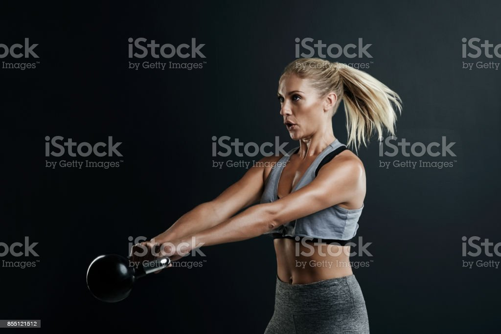 Owning her workout stock photo
