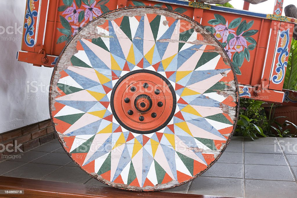 ox cart wheel stock photo