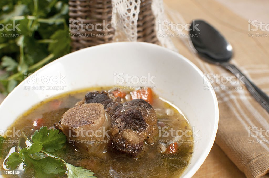 Ox tail soup with barley stock photo