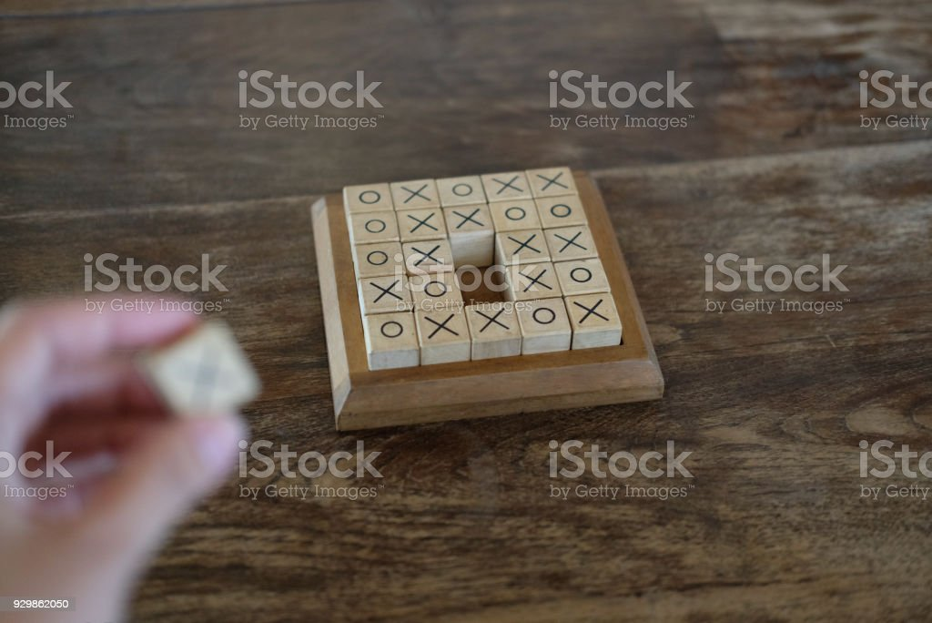 Ox Tictactoe Game Made By Wood Block On Wooden Table Education
