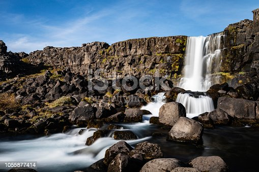 istock Oxararfoss waterfall in Iceland 1055877414