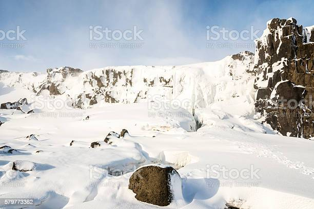 Photo of Oxararfoss waterfall, Pingvellir valley. Iceland