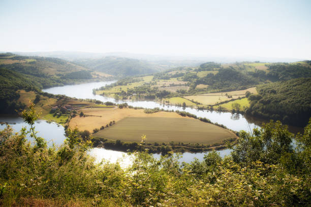 Oxbow bend on the River Loire, France stock photo