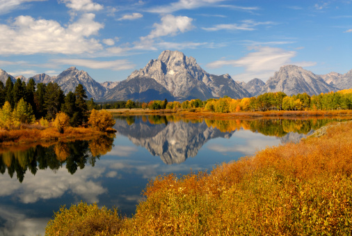 View of Mt. Moran from Oxbow Bend.  Mt. Moran is part of the Tetons Range in the Grand Teton National Park.