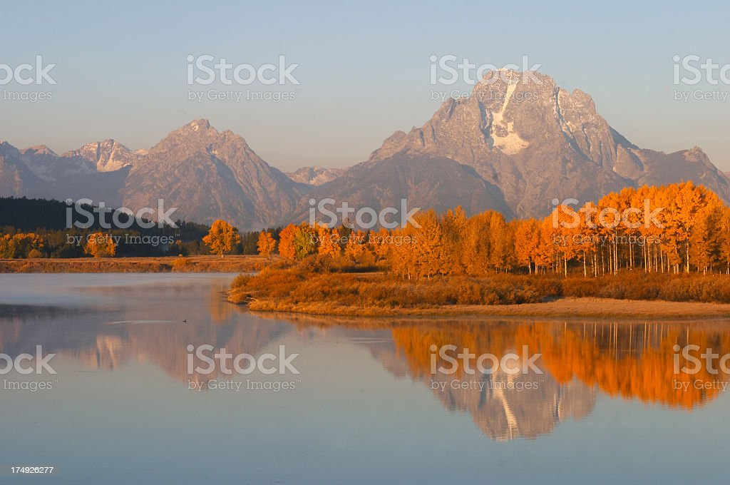 Oxbow Bend with fall color royalty-free stock photo