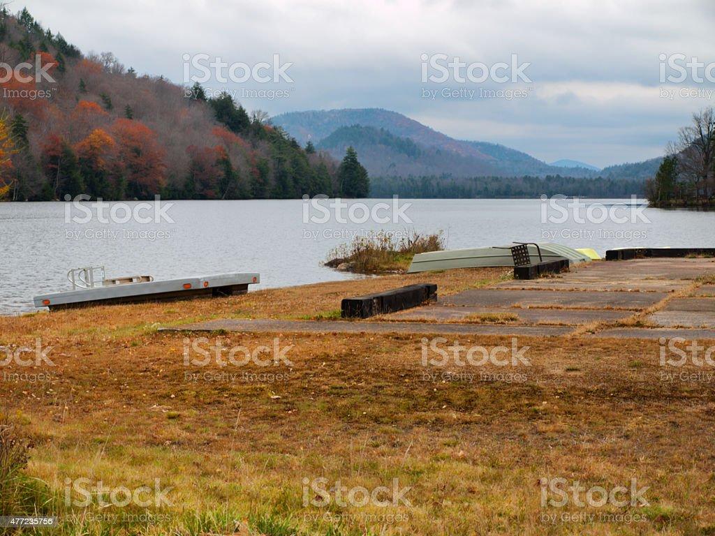Oxbow Lake in the Adirondack Mountains stock photo