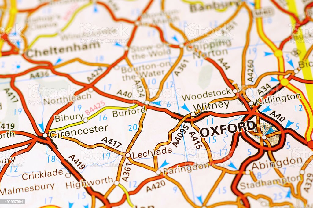 Oxford area on a map stock photo