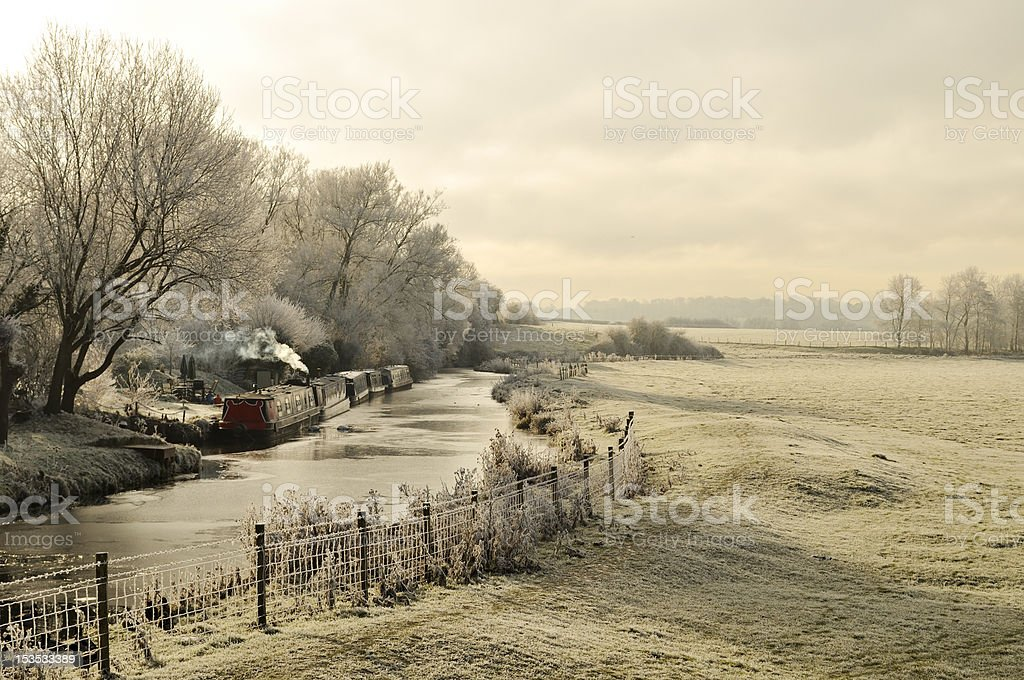 Oxford Canal in the winter stock photo