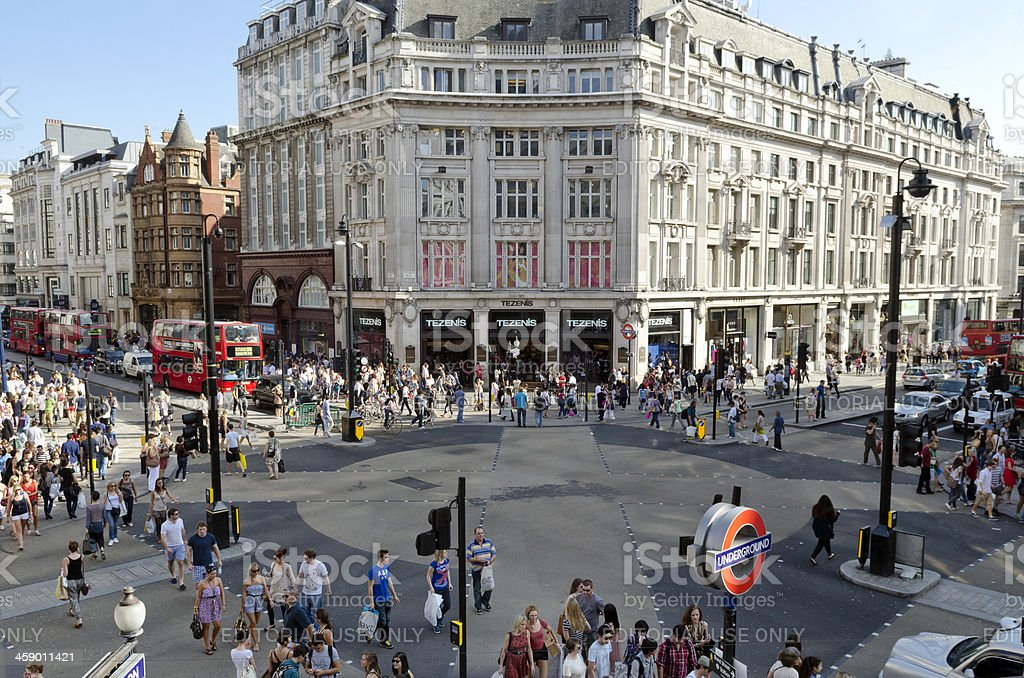 Oxford Circus, central London shopping district stock photo