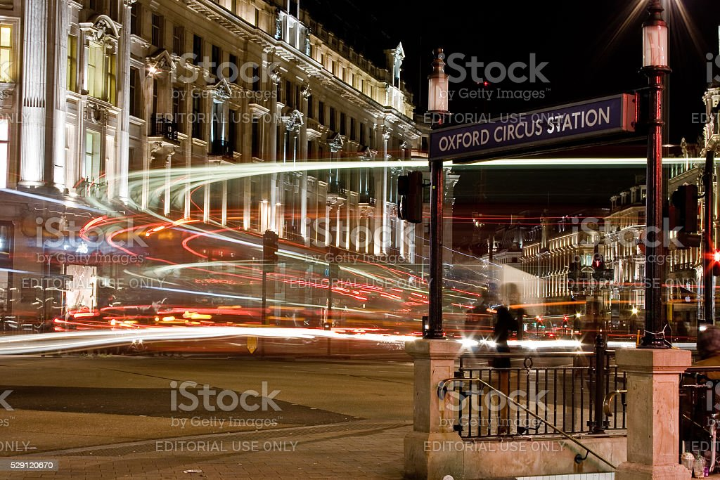 Oxford Circus in London at night stock photo