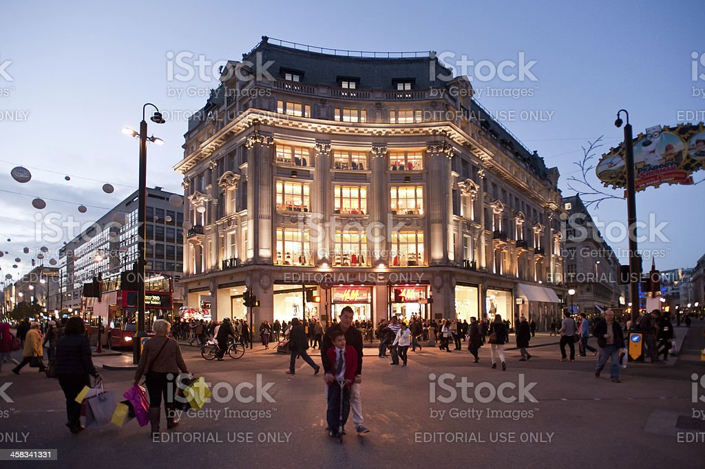 Oxford Circus in London at sunset stock photo