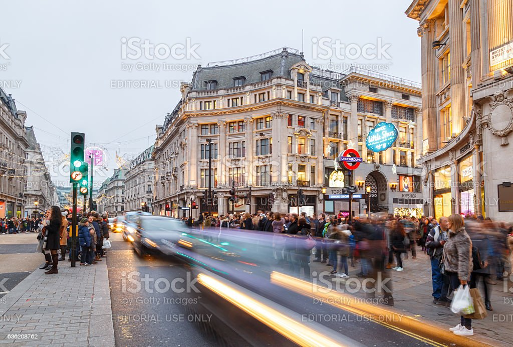 Oxford Circus, London - busy with Christmas shoppers. stock photo