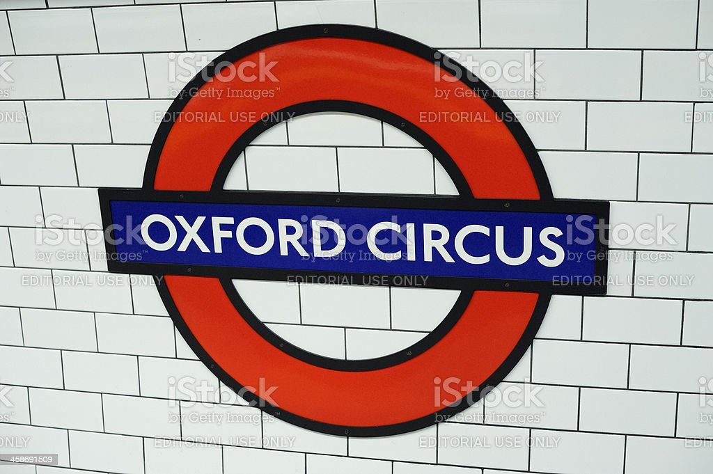 Oxford Circus Station Sign stock photo