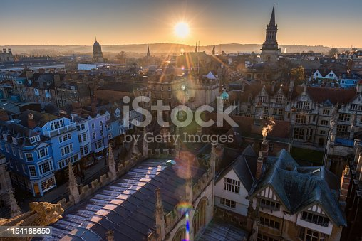 Oxford city aerial view during sunset
