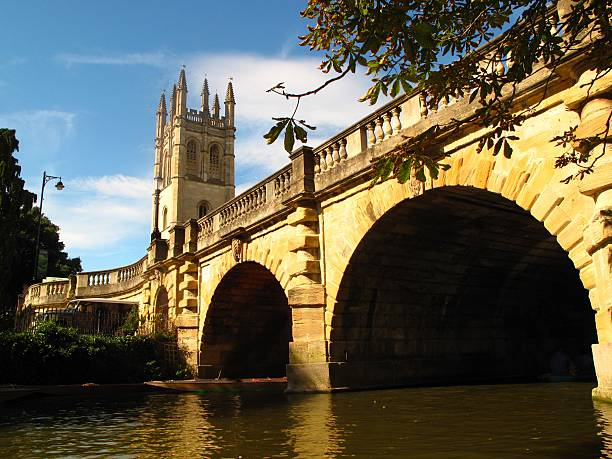 Oxford England Magdalen Tower Magdalen Bridge River Cherwell stock photo