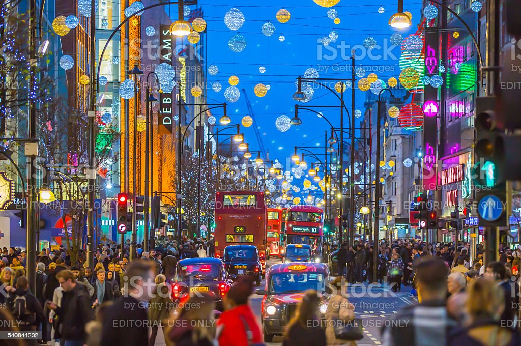 Oxford street at Christmas time, London stock photo