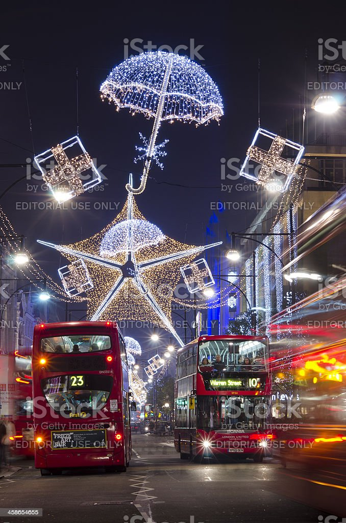 Oxford Street Christmas lights and decorations, London royalty-free stock photo