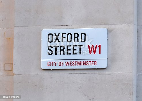 London, UK - circa April 2018: Oxford street in City of Westminster sign