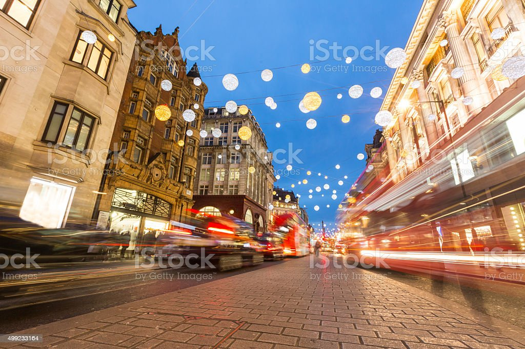 Oxford street in London with Christmas lights and blurred traffi stock photo