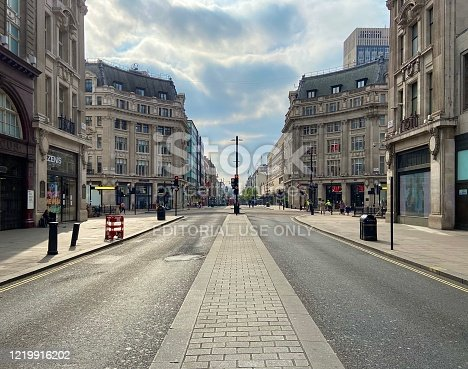 London, United Kingdom - April 18 2020: Empty Oxford Street without people during lockdown