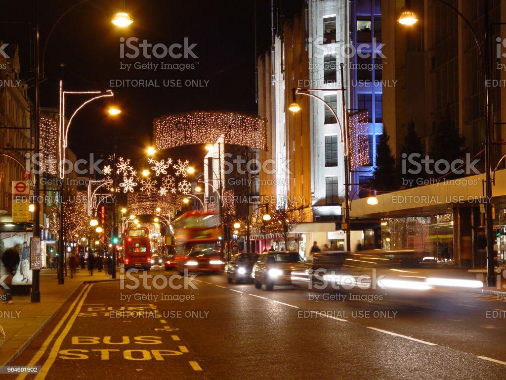 Oxford Street, London on Christmas time royalty-free stock photo