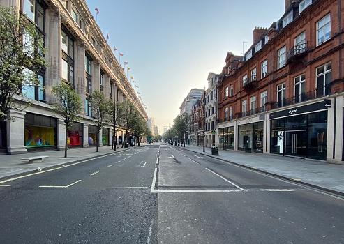Empty Oxford Street During lockdown