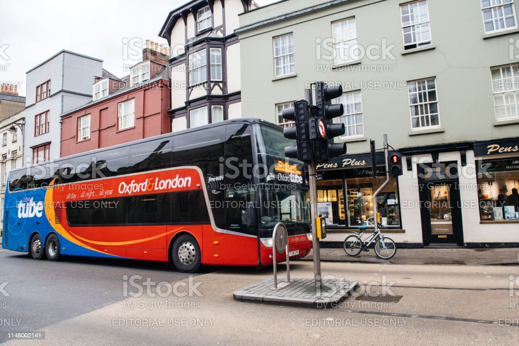 Oxford tube all day Oxford to London travel bus driving fast on high...
