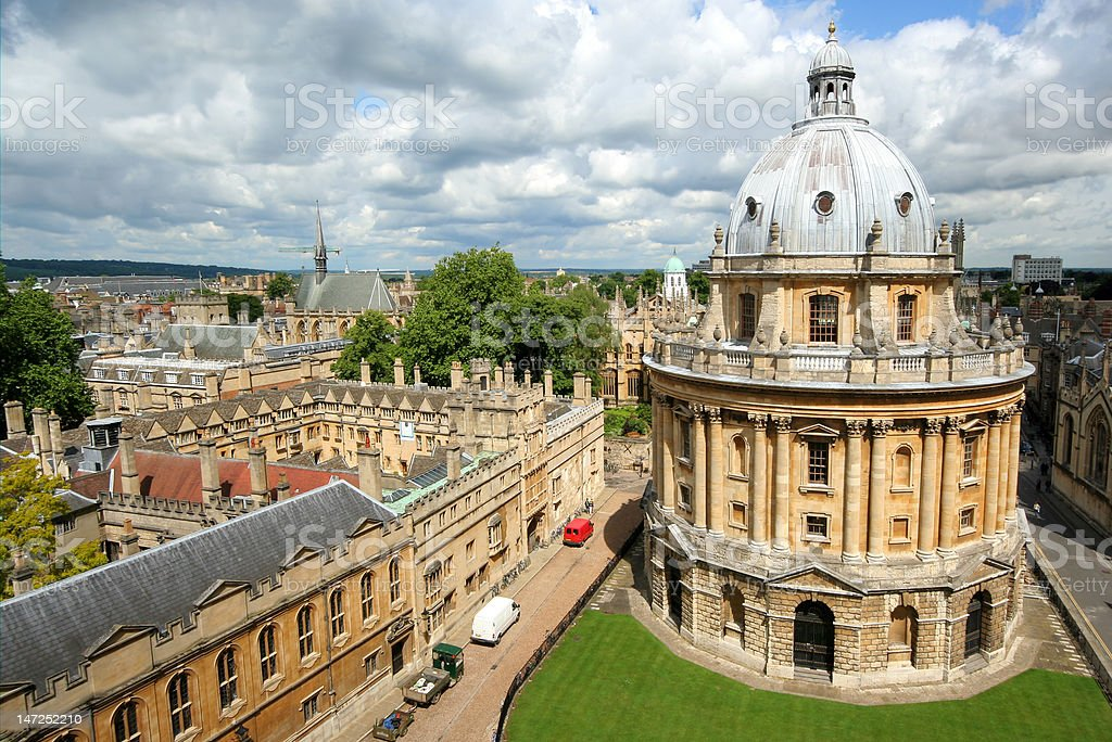 Oxford University from above stock photo
