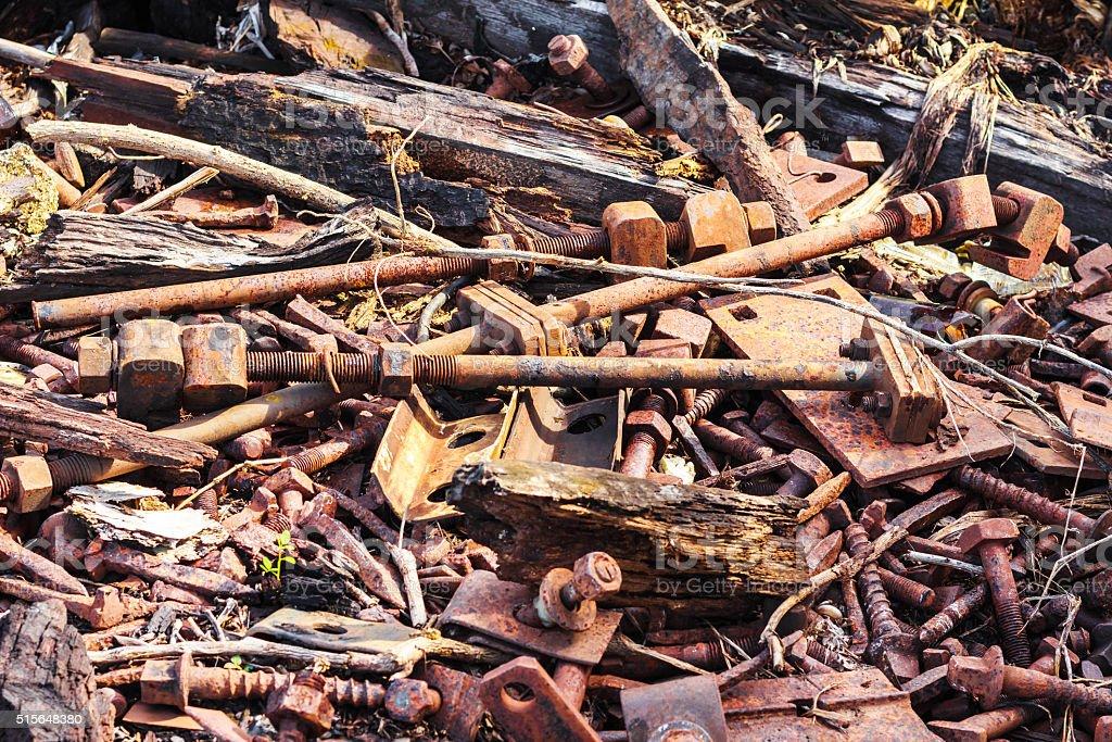 Oxidized rail junction parts stock photo