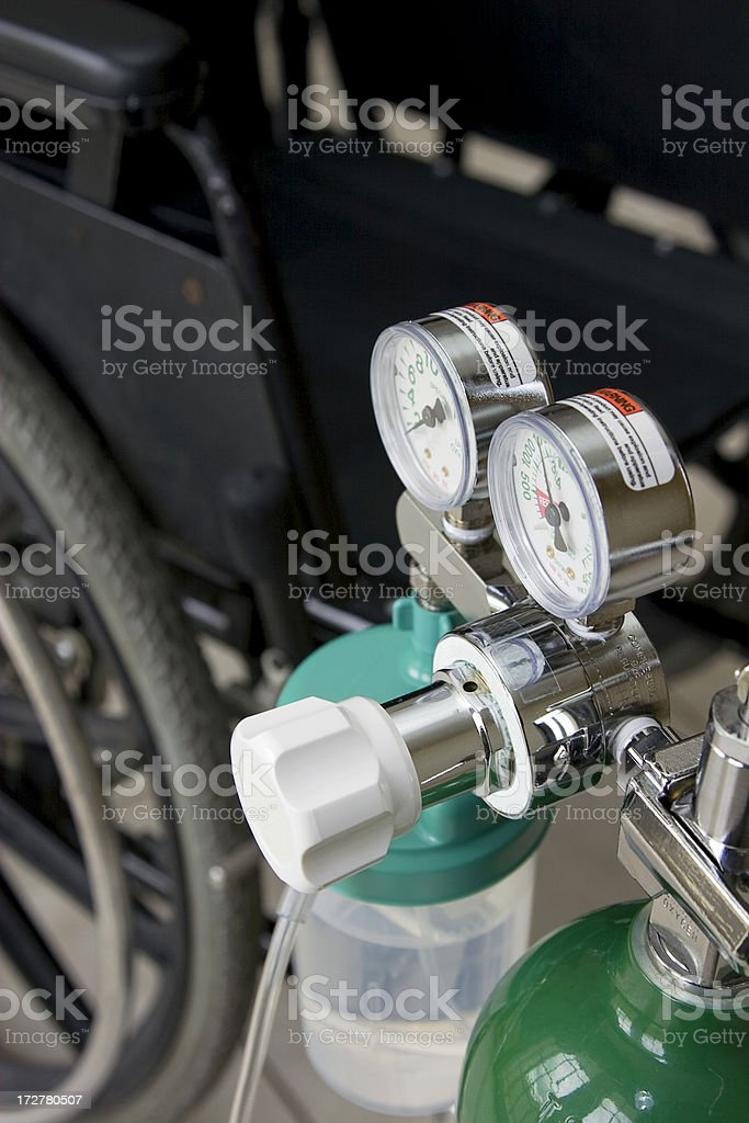 oxigen and wheelchair royalty-free stock photo