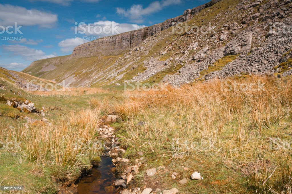 Oxnop Scar, scree and beck stock photo