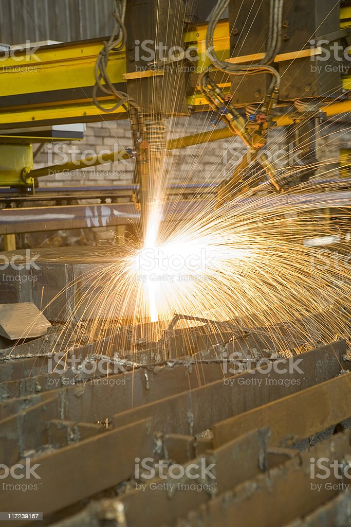 Oxy-fuel cutting royalty-free stock photo