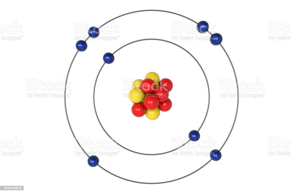 Oxygen Atom Bohr Model With Proton Neutron And Electron Stock Photo