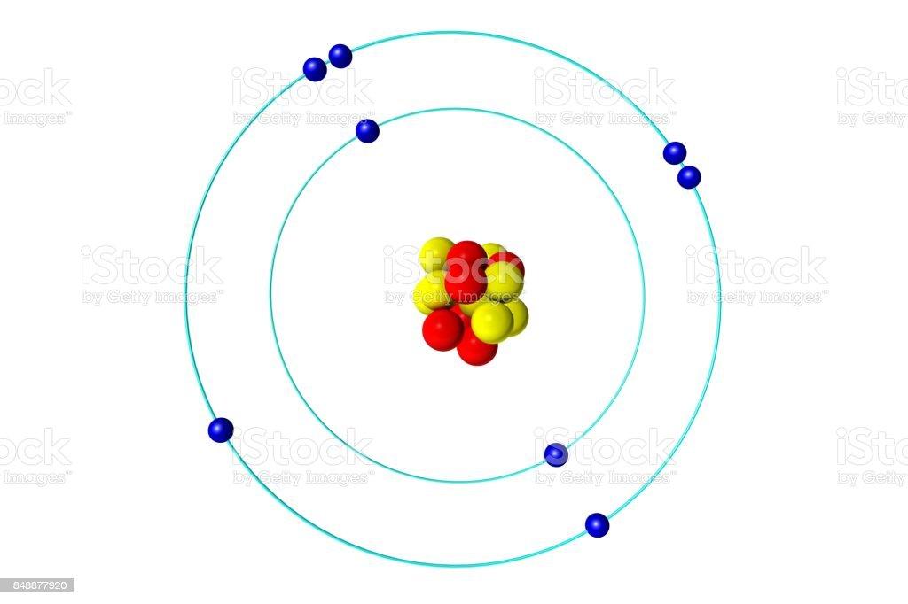 Atome d'oxygène avec les protons, neutrons et électrons, 3D illustration de modèle de Bohr - Photo