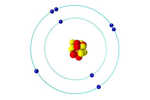 Oxygen atom with proton, neutron and electron, 3D Bohr model illustration stock photo