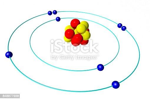 Oxygen Atom With Proton Neutron And Electron 3d Bohr Model Stock