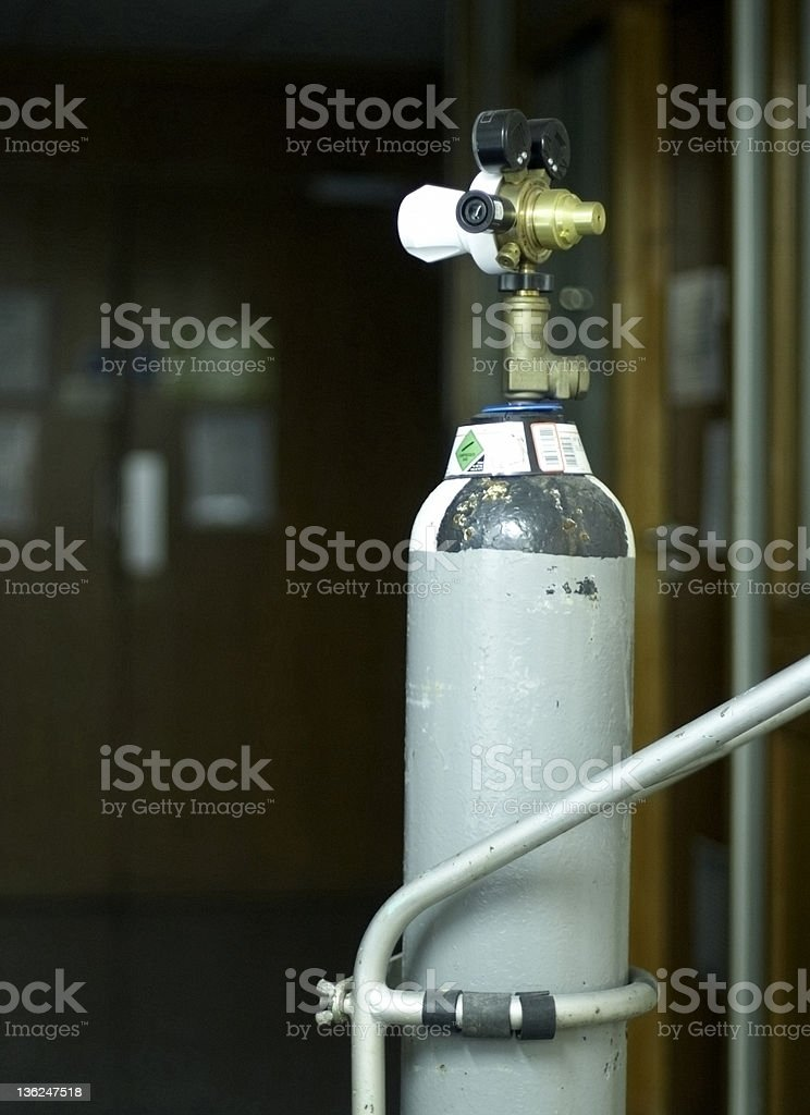 Oxygen cylinder and gauges royalty-free stock photo