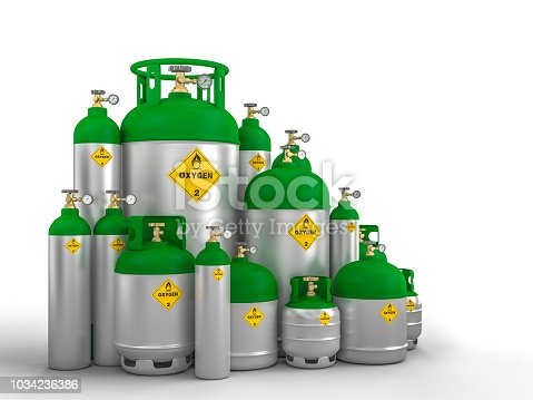 different oxygen cylinder container 3d rendering image