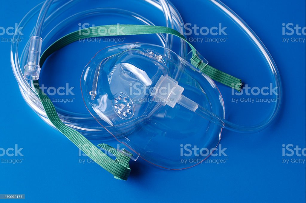 oxygen mask with tubing royalty-free stock photo