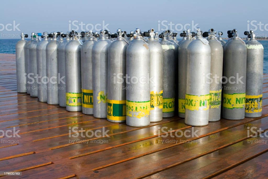 Oxygen Tanks for Scuba Diving stock photo
