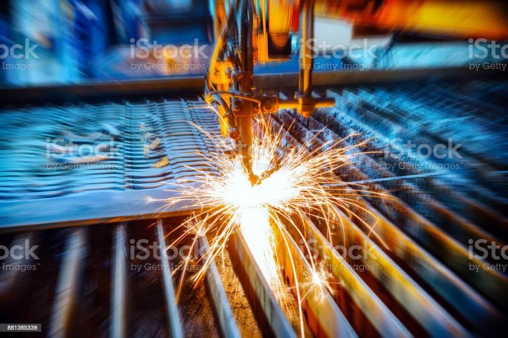 Oxygen torch cuts steel sheet stock photo