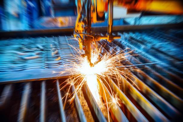 Oxygen torch cuts steel sheet stock photo