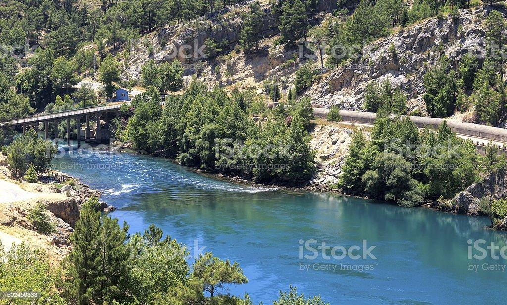 Oymapinar dam at Manavgat river stock photo