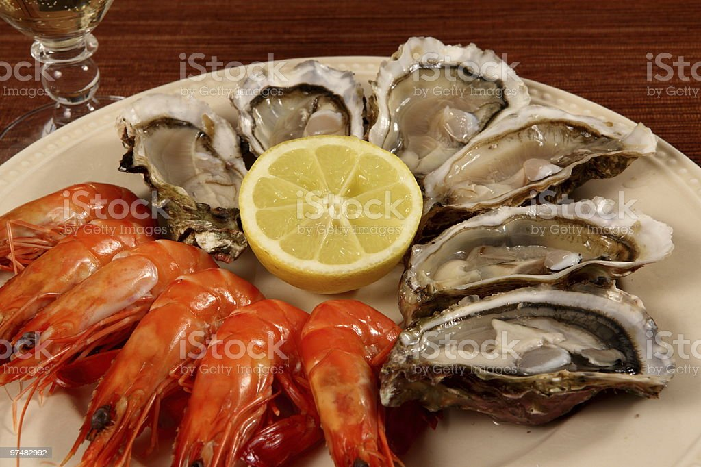 Oyster and shrimp royalty-free stock photo