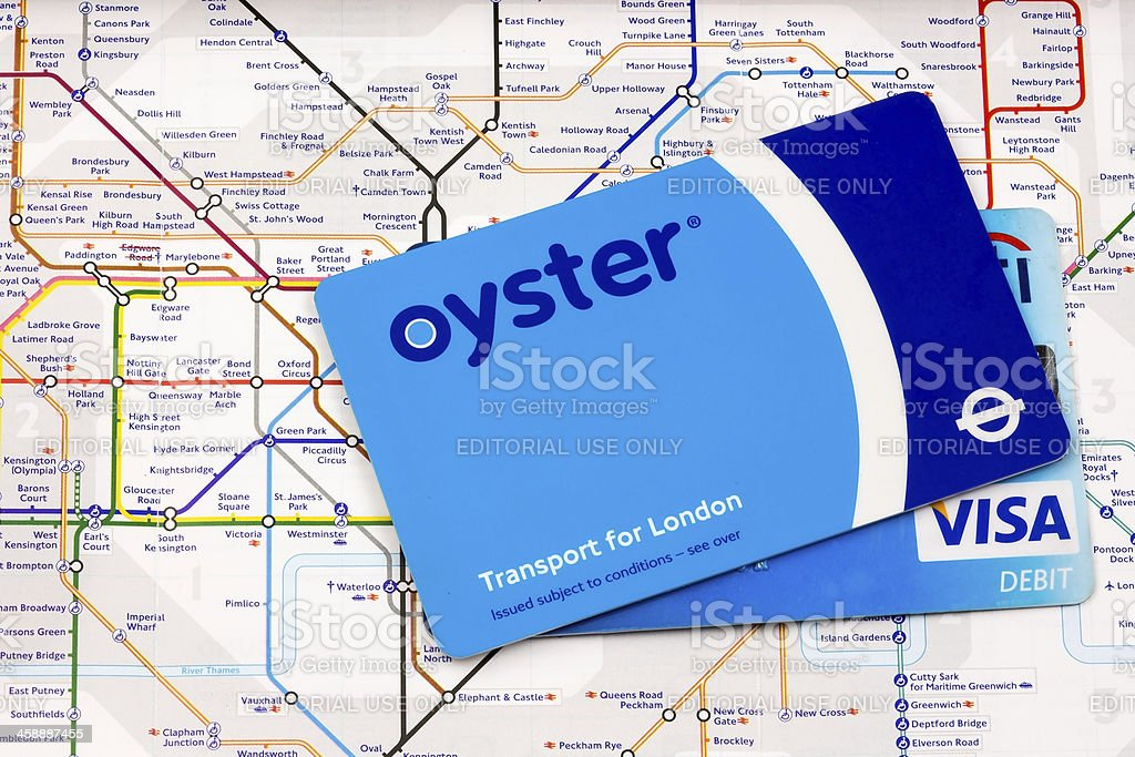 Oyster and Visa Card on a London Underground Map royalty-free stock photo