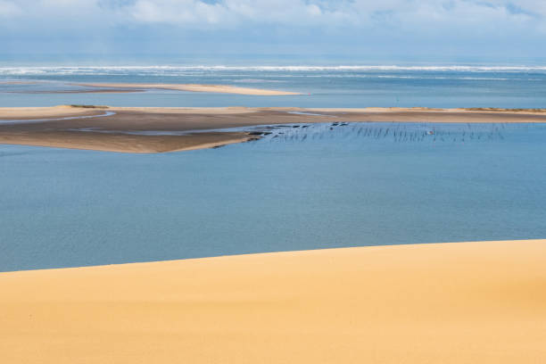 Oyster bay seen from Europe's biggest sand dune stock photo