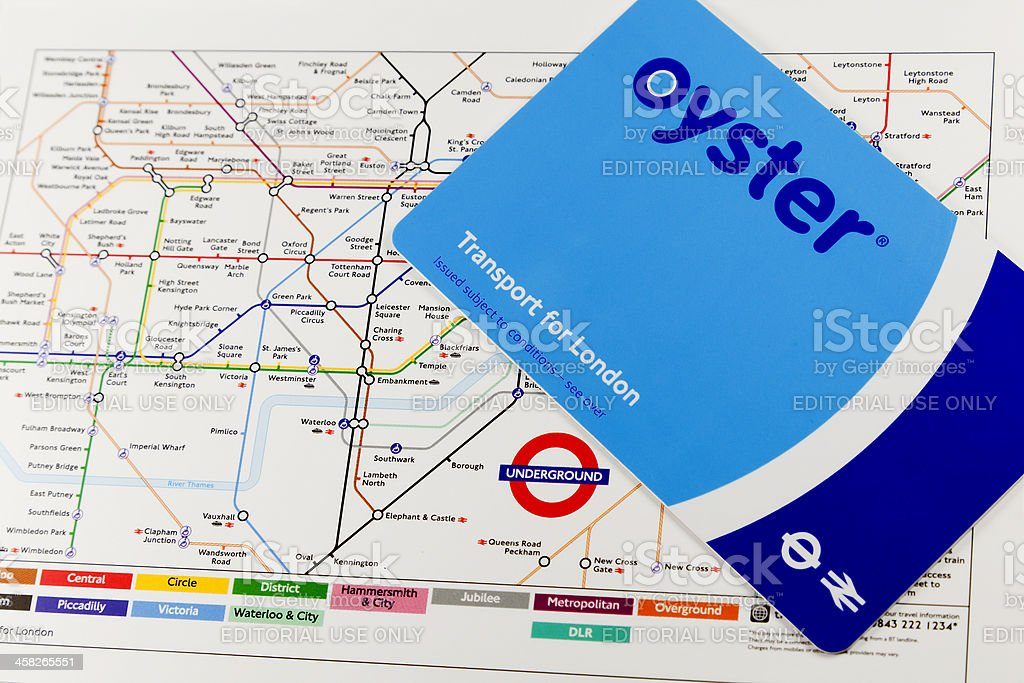 oyster card on london underground map royalty free stock photo
