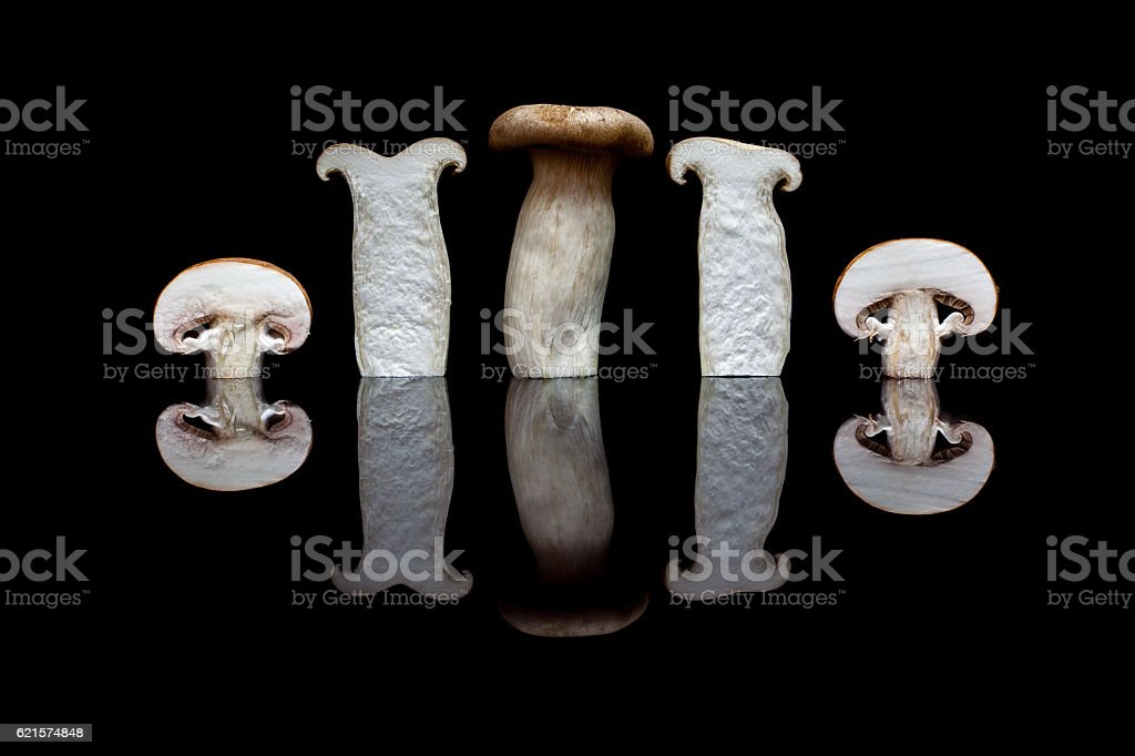 Oyster mushrooms and two cut brown on black reflective backgroun photo libre de droits