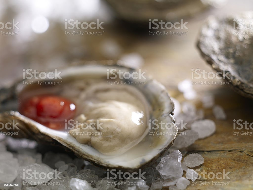 Oyster on the half shell royalty-free stock photo